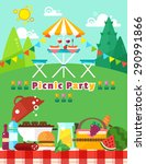 picnic party landscape in flat... | Shutterstock .eps vector #290991866
