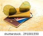 travel concept  passport and...   Shutterstock . vector #291001550