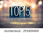 the word top 5 written in... | Shutterstock . vector #291004400