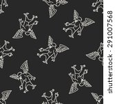 griffin doodle seamless pattern ... | Shutterstock .eps vector #291007568