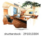 vector interior sketch design.... | Shutterstock .eps vector #291013304