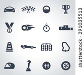 vector black racing icon set on ... | Shutterstock .eps vector #291035513