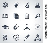 vector black science icon set... | Shutterstock .eps vector #291035528
