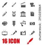 vector gray art icon set.   Shutterstock .eps vector #291035864
