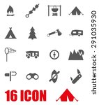 vector gray camping icon set | Shutterstock .eps vector #291035930