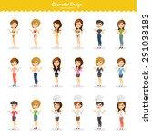 fashion girls illustration set | Shutterstock .eps vector #291038183