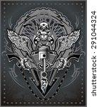 vintage motorcycle label | Shutterstock .eps vector #291044324