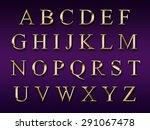 golden alphabet on a purple... | Shutterstock . vector #291067478