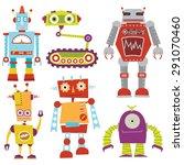 robot set | Shutterstock .eps vector #291070460