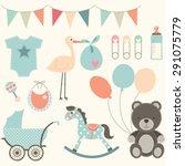 baby shower elements | Shutterstock .eps vector #291075779