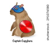 captain capybara with red... | Shutterstock .eps vector #291076580