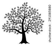 black tree silhouette isolated... | Shutterstock .eps vector #291085880