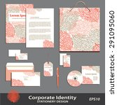vector coral pattern stationery ...   Shutterstock .eps vector #291095060