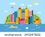 city illustration in a flat... | Shutterstock . vector #291097820