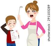 sad little boy showing her... | Shutterstock .eps vector #291103289