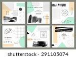 collection of trendy cards with ... | Shutterstock .eps vector #291105074