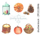 Set Of Watercolor Cute Autumn...