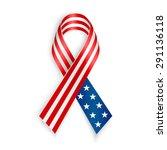 american flag ribbon. patriotic ... | Shutterstock .eps vector #291136118