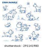 Cute Cartoon Farm Animals. Duc...