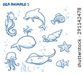 Cute Cartoon Sea Water Animals...