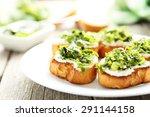 tasty fresh bruschetta on plate ... | Shutterstock . vector #291144158
