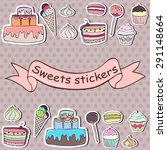 set of colorful sweets stickers ... | Shutterstock .eps vector #291148664