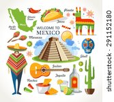 welcome to mexico set | Shutterstock .eps vector #291152180