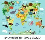 animal map of the world for... | Shutterstock .eps vector #291166220