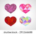 polygonal origami heart diamond ... | Shutterstock .eps vector #291166688
