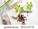 tofu slices with parsley  salt  ... | Shutterstock . vector #291174770