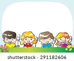 kids with nature background | Shutterstock .eps vector #291182606