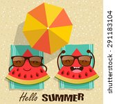 summer. vector watermelons... | Shutterstock .eps vector #291183104