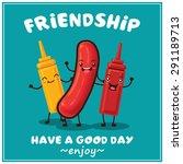 vintage hotdog character poster ...   Shutterstock .eps vector #291189713
