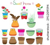 set of colorful flowerpots... | Shutterstock .eps vector #291209594
