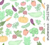 vector hand drawn vegetables... | Shutterstock .eps vector #291227960