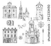 krakow. vector sketch old town. ... | Shutterstock .eps vector #291233450