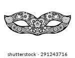hand drawn ornamental mask.... | Shutterstock .eps vector #291243716