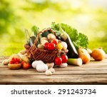 vegetables on wood. bio healthy ... | Shutterstock . vector #291243734