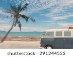 vintage van in the beach with a ... | Shutterstock . vector #291244523