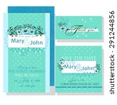 wedding invitation with blue...   Shutterstock .eps vector #291244856