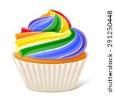 rainbow cupcake love wins 10eps | Shutterstock .eps vector #291250448