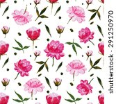abstract pattern peonies ... | Shutterstock . vector #291250970