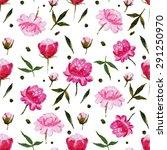 abstract pattern peonies ... | Shutterstock . vector #291250970