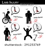 set of limb injury   stick man... | Shutterstock .eps vector #291253769