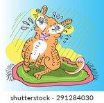 illustration of funny tiger... | Shutterstock .eps vector #291284030