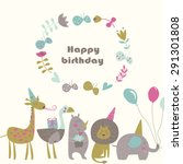 birthday card with africa... | Shutterstock .eps vector #291301808