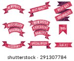 set of flat colored ribbons.... | Shutterstock .eps vector #291307784