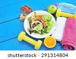 fresh salad  fruits with sport...   Shutterstock . vector #291314804
