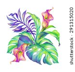 tropical floral arrangement ... | Shutterstock . vector #291315020