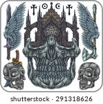 hand drawn set of old school... | Shutterstock .eps vector #291318626